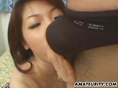 Hairy Asian amateur girlfriend fucks with facial porn tube video