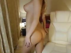 Pretty blonde MilenaXXL fucks ass rubber dildo