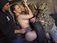 Threesome mmf where a striking slut is smashed doggystyle