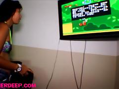 heather Deep playing super mario ###ther gets deepthroat throatpie