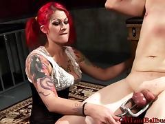 Vivacious redhead with a curvy body torturing a stranger porn tube video