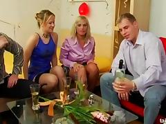Businesswomen get fucked and jizzed on by younger dudes