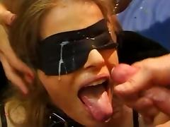 Blindfolded, Beauty, Blindfolded, Blonde, Bukkake, Cum in Mouth