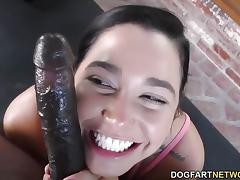 Brunette Karlee Grey swallows this hard cock