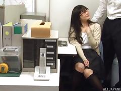 Appealing Japanese lass with glasses sucks the dick like a pro