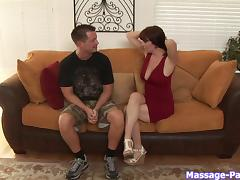She gets so turned on during a massage she has to fuck her client