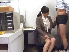 Her Japanese boss requires her to give a nice blowjob