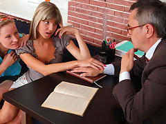 TrickyOldTeacher - sexy sexy students suck cock and have threesome with older teacher porn tube video