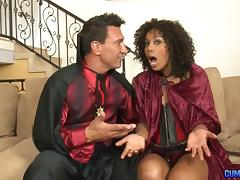 Dazzling chocolate chick with the curly hair enjoys the penetration porn tube video