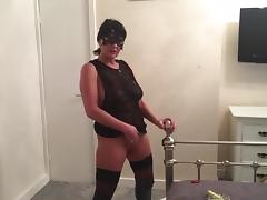 Smoking + play in OTK boots tube porn video