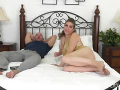 Chubby pornstar plays with her natural tits while getting laid