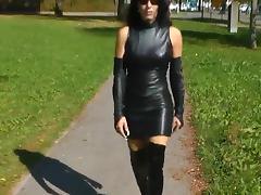 Brunette, Brunette, German, Leather, Outdoor, Sex