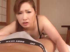 Cocksucking Japanese milf makes him nut with her talented mouth