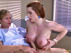Athletic fucking of a hot redhead with amazing big tits porn tube video