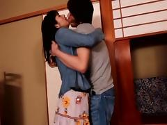 Passion filled Asian couple getting their freak on around the house