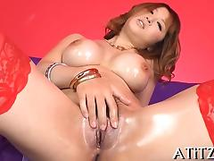 Cute oriental with tits stimulates with naughty oral-sex