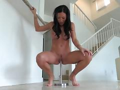 Curvaceous chick penetrates her own pussy with a steel toy