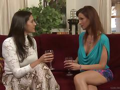 Delicious blonde woman gives the petite brunette all the pleasure