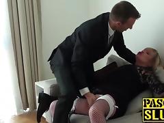 Chubby MILF Alisha sucks and rides stiffed prick on sofa