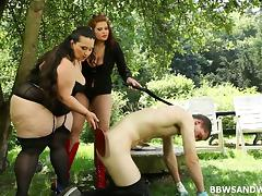 Ball gagged submissive guy fucks fat domme girls outdoors tube porn video