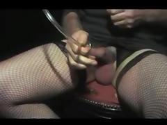 Crossdresser sounding in nylon tube porn video