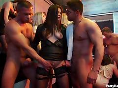 Sensual senoritas sucking and riding schlongs in the nightclub porn tube video