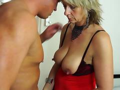 Voluptuous blonde in sexy clothes still knows how to ride the schlong porn tube video