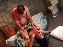 Balls deep fucking Mina Leigh in prison cell tube porn video