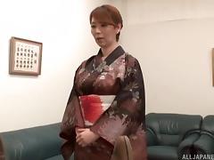 Japanese milf behaves lustily for his stiff cock