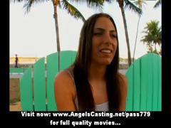 Hot amateur latina eating hotdog and undressing for big guy