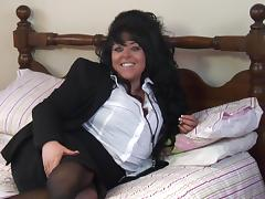 Hot BBW in thigh high stockings having fun playing in bed porn tube video