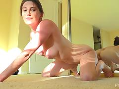 Dildo riding girl has a perfect set of big natural tits