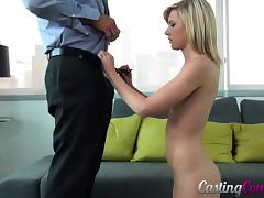 Sensual blonde licks the trimmed cock and the rides it with vigor
