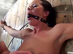 Mia bound spread-eagle ballgagged slowly vibed to orgasm porn tube video