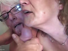 Grannies and moms fuck boy on kitchen porn tube video