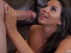 A couple bangs on cam then he shoots his load on her tits