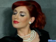 Classy redhead pussyfucked through gloryhole porn tube video