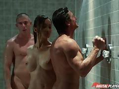 Asian beauty Katsuni double teamed in the gym showers porn tube video
