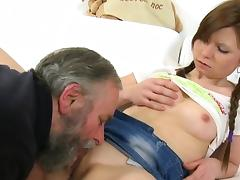 Young active beauty blows old rod