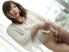 Astonishing Japanese tranny strokes the dick in the early morning