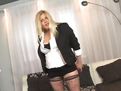 Mature blonde maid spreads her legs on the bed and gets humped