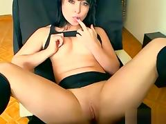 Amazonka7 sitting in a chair and fondles pussy