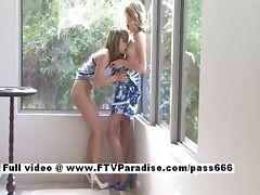 Sara and Rilee stunning lesbian babes kissing and licking