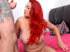 Chubby pink haired hottie sucking dick and screwing lustily