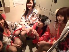 Japanese babes providing their friend with a cock sucking session porn tube video