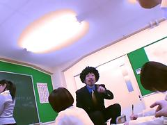 School nurse takes the hard Japanese cock into her mouth