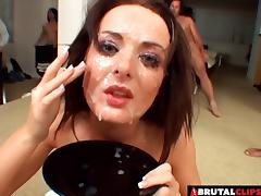Bukkake leaves the pretty girl completely covered in cum porn tube video