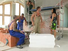 House painters pull out their cocks to gangbang Aletta Ocean tube porn video