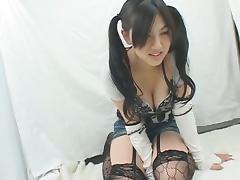 Shy Japanese schoolgirl masturbating on camera porn tube video