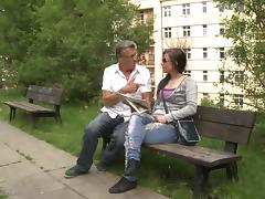 Old man picks up a cute college chick from the park for fucking porn tube video
